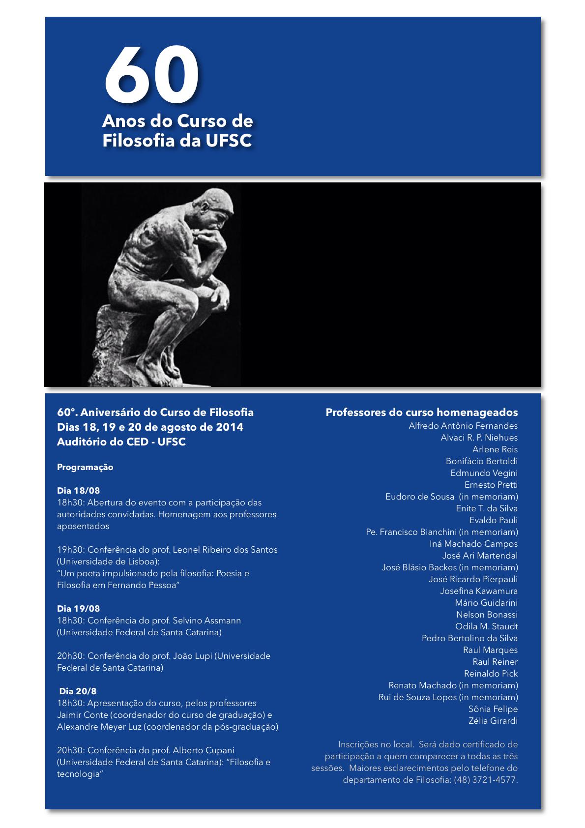 cartaz-60anos do curso de filosofia da UFSC